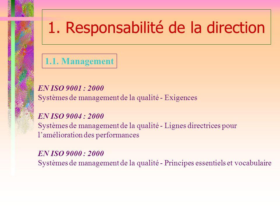 1. Responsabilité de la direction EN ISO 9001 : 2000 Systèmes de management de la qualité - Exigences EN ISO 9004 : 2000 Systèmes de management de la