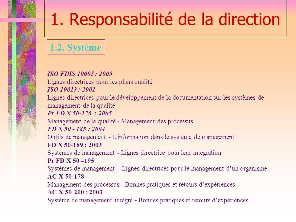 1. Responsabilité de la direction ISO FDIS 10005 : 2005 Lignes directrices pour les plans qualité ISO 10013 : 2001 Lignes directrices pour le développ