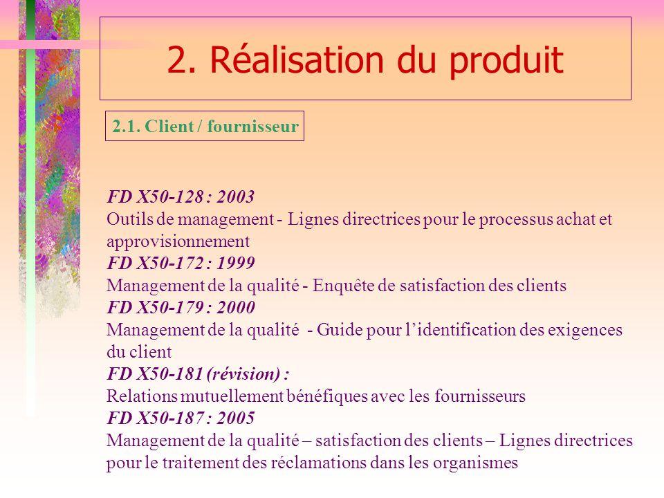 2. Réalisation du produit FD X50-128 : 2003 Outils de management - Lignes directrices pour le processus achat et approvisionnement FD X50-172 : 1999 M