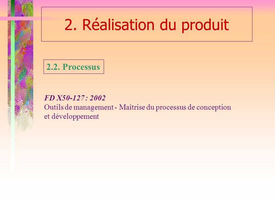2. Réalisation du produit 2.2. Processus FD X50-127 : 2002 Outils de management - Maîtrise du processus de conception et développement