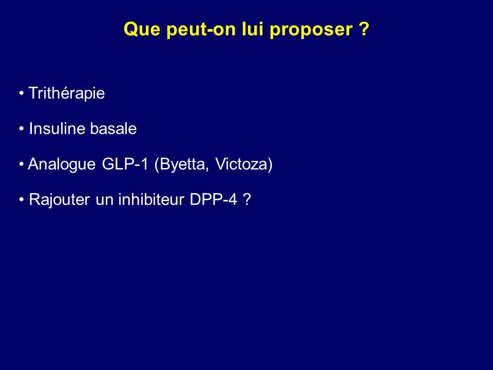 Que peut-on lui proposer ? Trithérapie Insuline basale Analogue GLP-1 (Byetta, Victoza) Rajouter un inhibiteur DPP-4 ?
