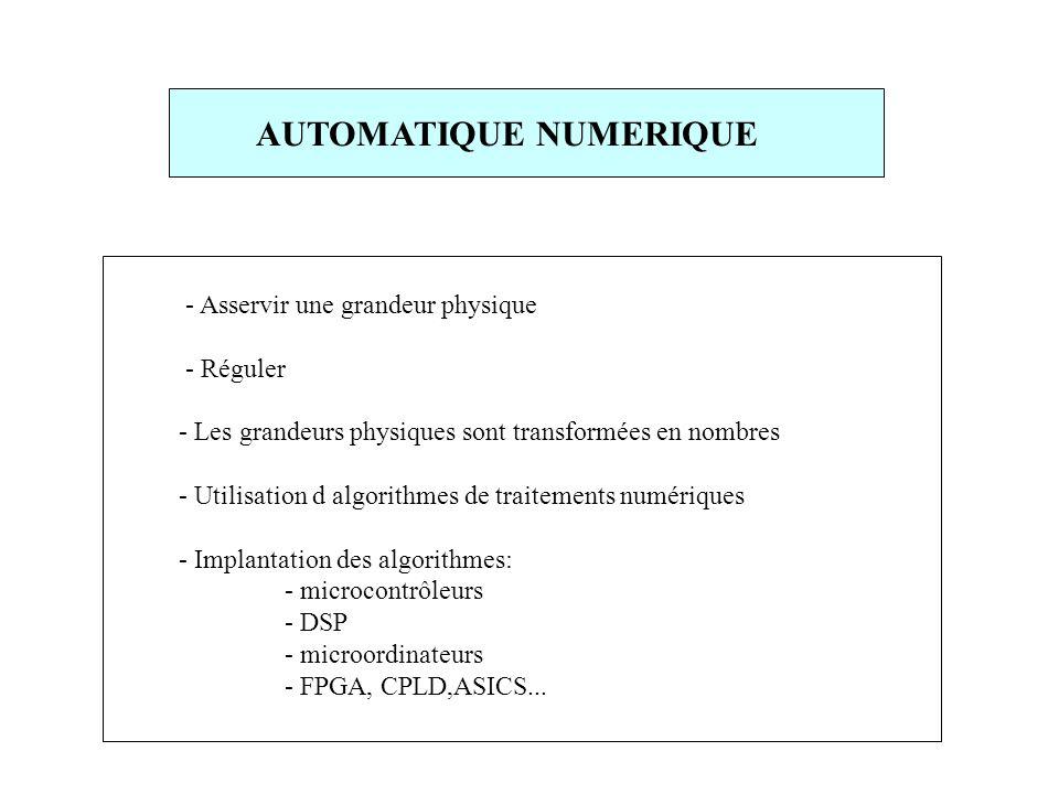 - Asservir une grandeur physique - Réguler - Les grandeurs physiques sont transformées en nombres - Utilisation d algorithmes de traitements numériques - Implantation des algorithmes: - microcontrôleurs - DSP - microordinateurs - FPGA, CPLD,ASICS...