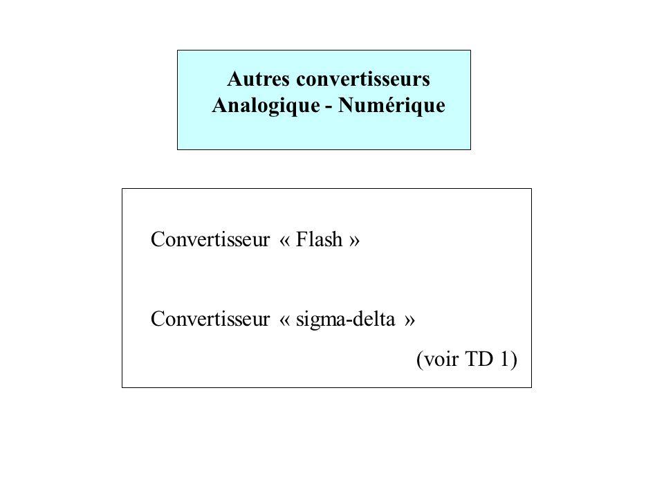 Autres convertisseurs Analogique - Numérique Convertisseur « Flash » Convertisseur « sigma-delta » (voir TD 1)