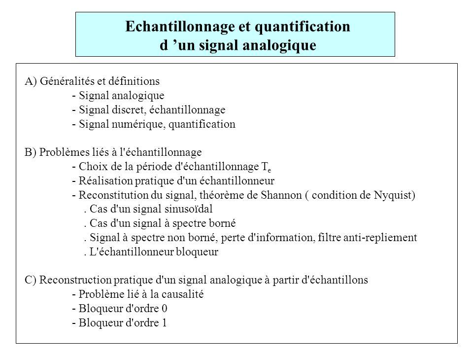 A) Généralités et définitions - Signal analogique - Signal discret, échantillonnage - Signal numérique, quantification B) Problèmes liés à l échantillonnage - Choix de la période d échantillonnage T e - Réalisation pratique d un échantillonneur - Reconstitution du signal, théorème de Shannon ( condition de Nyquist).