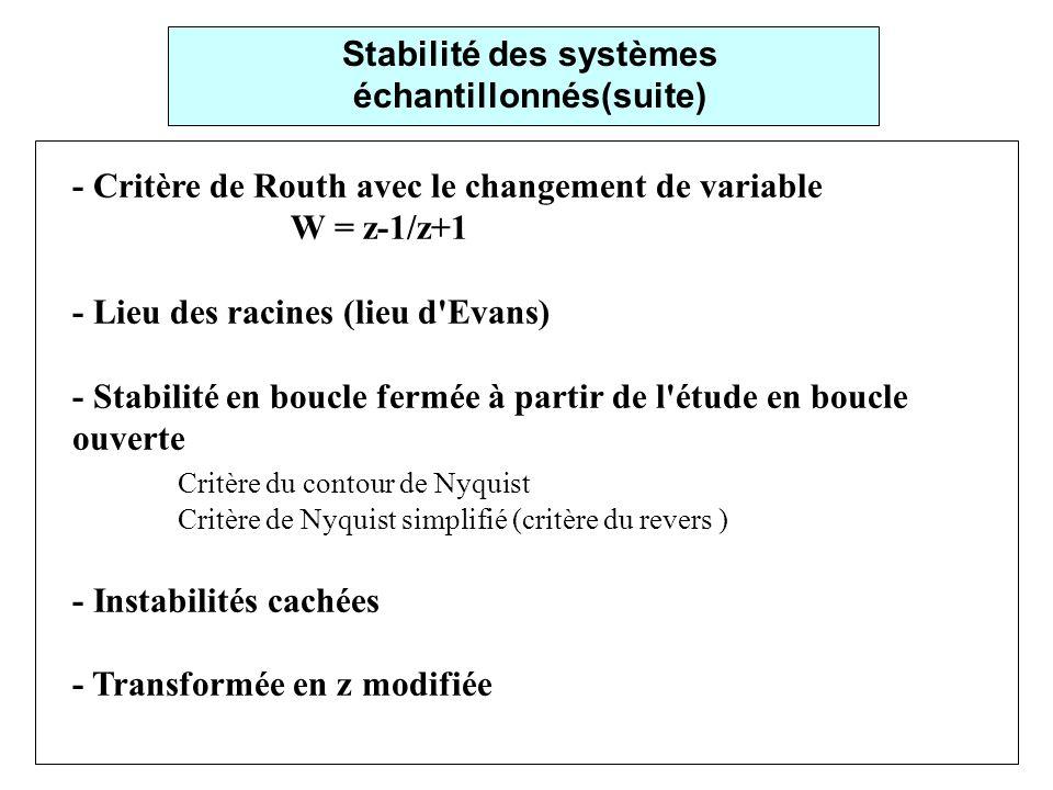 - Critère de Routh avec le changement de variable W = z-1/z+1 - Lieu des racines (lieu d Evans) - Stabilité en boucle fermée à partir de l étude en boucle ouverte Critère du contour de Nyquist Critère de Nyquist simplifié (critère du revers ) - Instabilités cachées - Transformée en z modifiée Stabilité des systèmes échantillonnés(suite)
