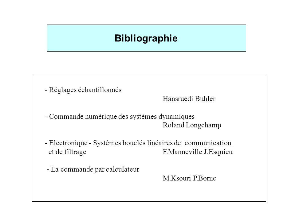 - Réglages échantillonnés Hansruedi Bühler - Commande numérique des systèmes dynamiques Roland Longchamp - Electronique - Systèmes bouclés linéaires d