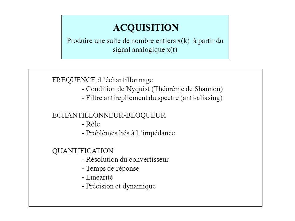 FREQUENCE d 'échantillonnage - Condition de Nyquist (Théorème de Shannon) - Filtre antirepliement du spectre (anti-aliasing) ECHANTILLONNEUR-BLOQUEUR - Rôle - Problèmes liés à l 'impédance QUANTIFICATION - Résolution du convertisseur - Temps de réponse - Linéarité - Précision et dynamique ACQUISITION Produire une suite de nombre entiers x(k) à partir du signal analogique x(t)