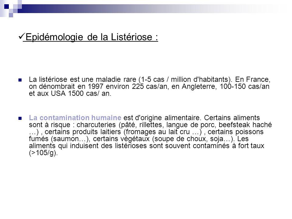 Epidémologie de la Listériose : La listériose est une maladie rare (1-5 cas / million d'habitants). En France, on dénombrait en 1997 environ 225 cas/a