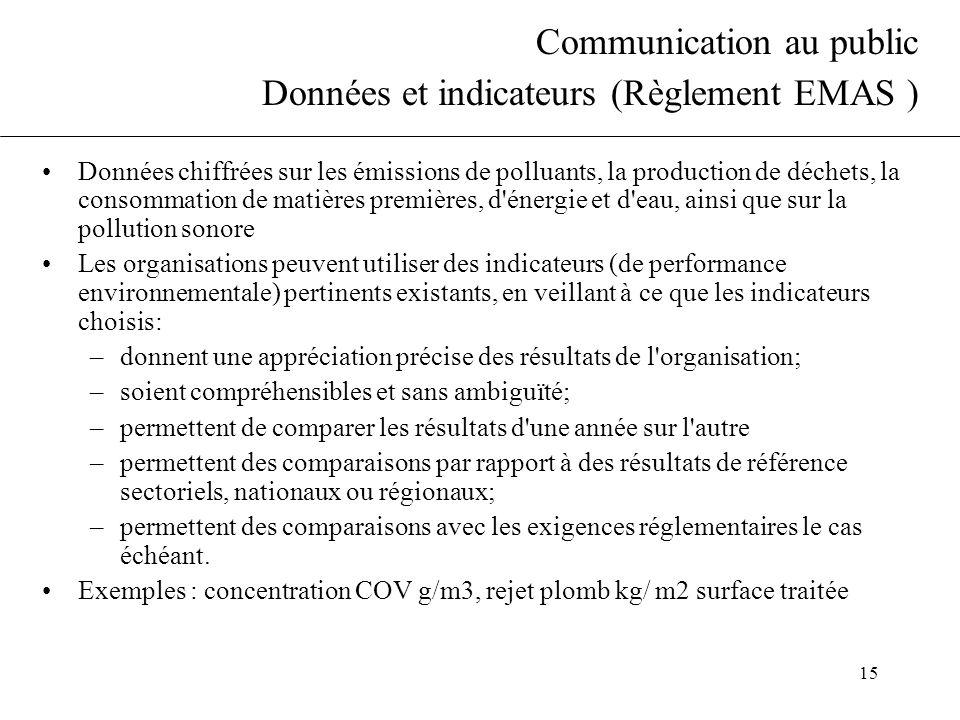 15 Communication au public Données et indicateurs (Règlement EMAS ) Données chiffrées sur les émissions de polluants, la production de déchets, la con