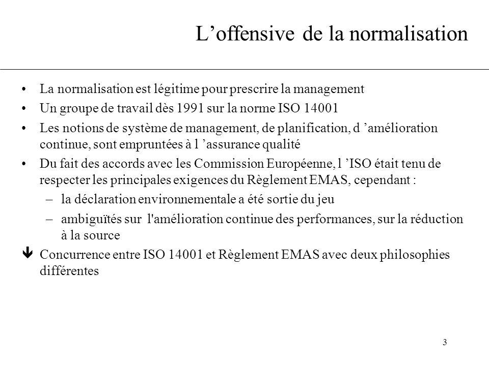 3 L'offensive de la normalisation La normalisation est légitime pour prescrire la management Un groupe de travail dès 1991 sur la norme ISO 14001 Les