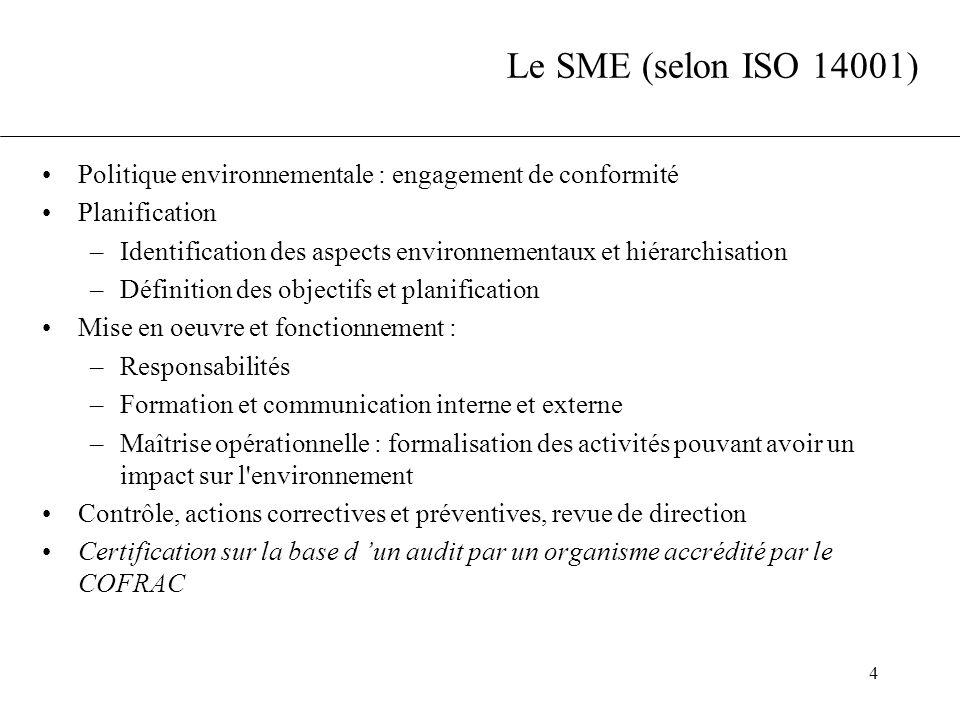 4 Le SME (selon ISO 14001) Politique environnementale : engagement de conformité Planification –Identification des aspects environnementaux et hiérarc