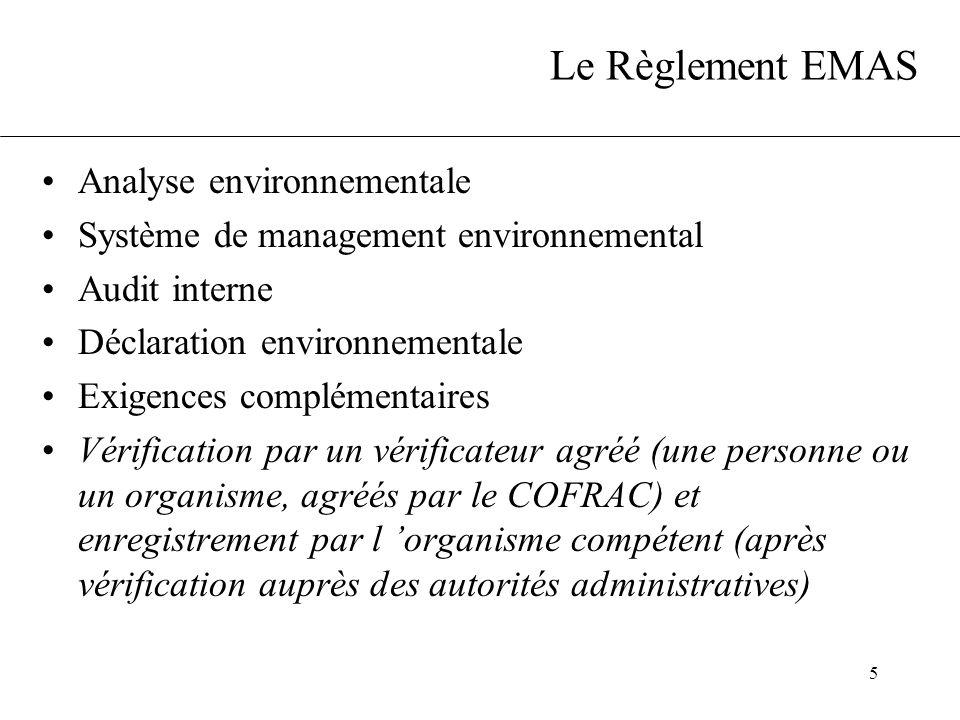 5 Le Règlement EMAS Analyse environnementale Système de management environnemental Audit interne Déclaration environnementale Exigences complémentaire