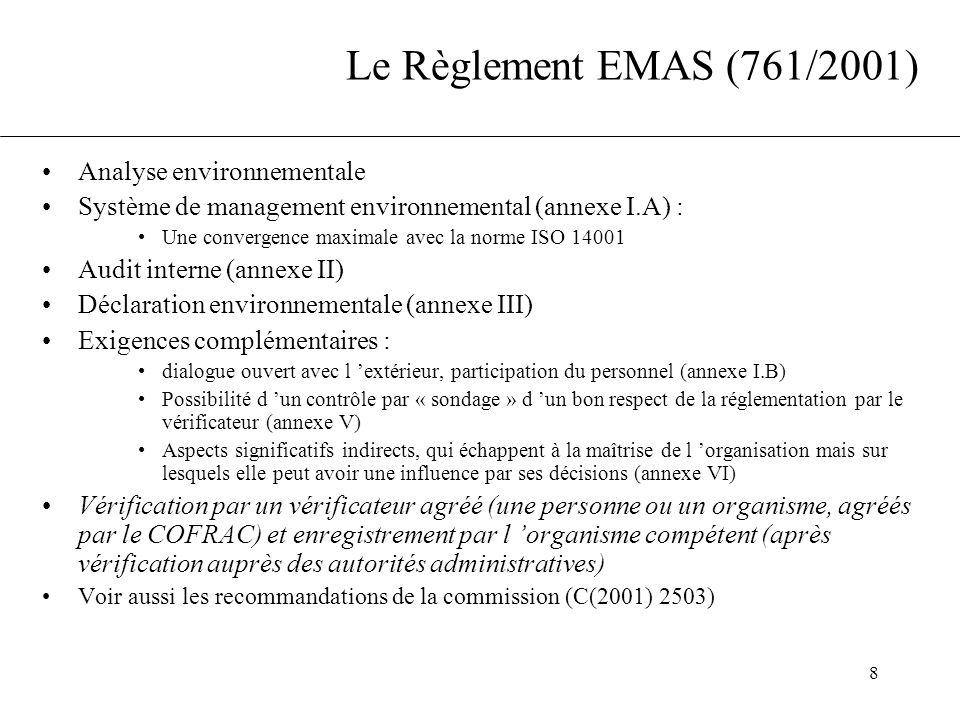 8 Le Règlement EMAS (761/2001) Analyse environnementale Système de management environnemental (annexe I.A) : Une convergence maximale avec la norme IS