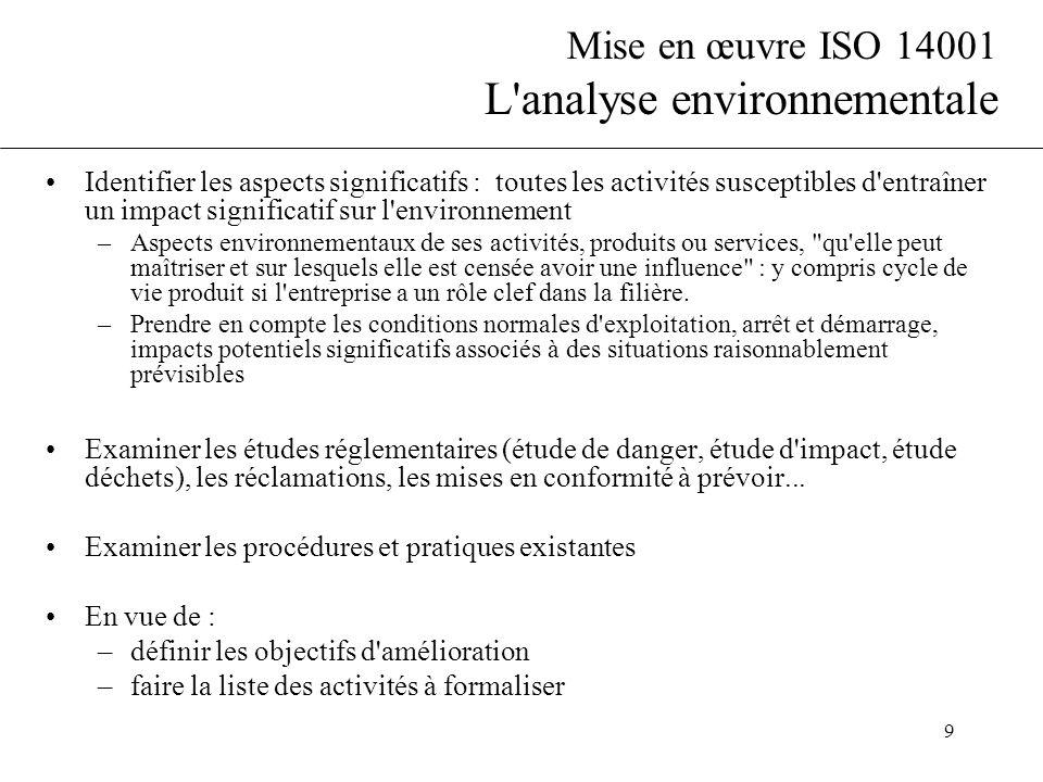 9 Mise en œuvre ISO 14001 L'analyse environnementale Identifier les aspects significatifs : toutes les activités susceptibles d'entraîner un impact si