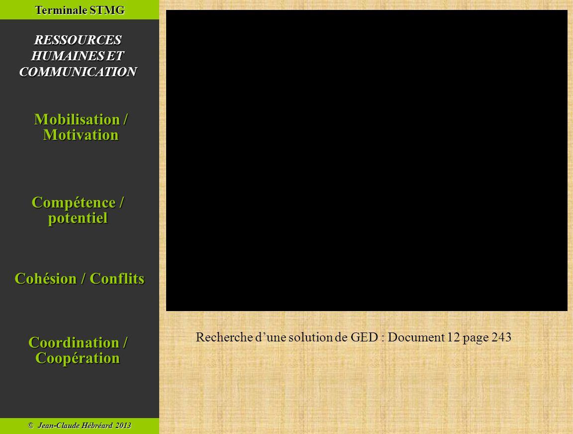 © Jean-Claude Hébréard 2013 Terminale STMG Cohésion / Conflits Cohésion / Conflits Compétence / potentiel Compétence / potentiel Mobilisation / Motivation Mobilisation / Motivation RESSOURCES HUMAINES ET COMMUNICATION Coordination / Coopération Coordination / Coopération Film publicitaire de l'entreprise Novaxel, éditeur de solutions GED.