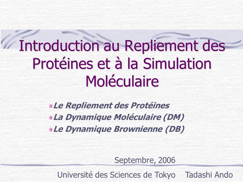 Introduction au Repliement des Protéines et à la Simulation Moléculaire Le Repliement des Protéines La Dynamique Moléculaire (DM) Le Dynamique Brownie