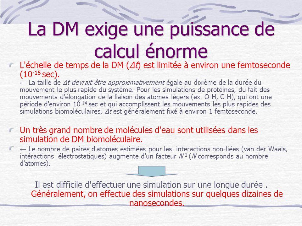 La DM exige une puissance de calcul énorme L'échelle de temps de la DM (Δt) est limitée à environ une femtoseconde (10 -15 sec). ← La taille de Δt dev