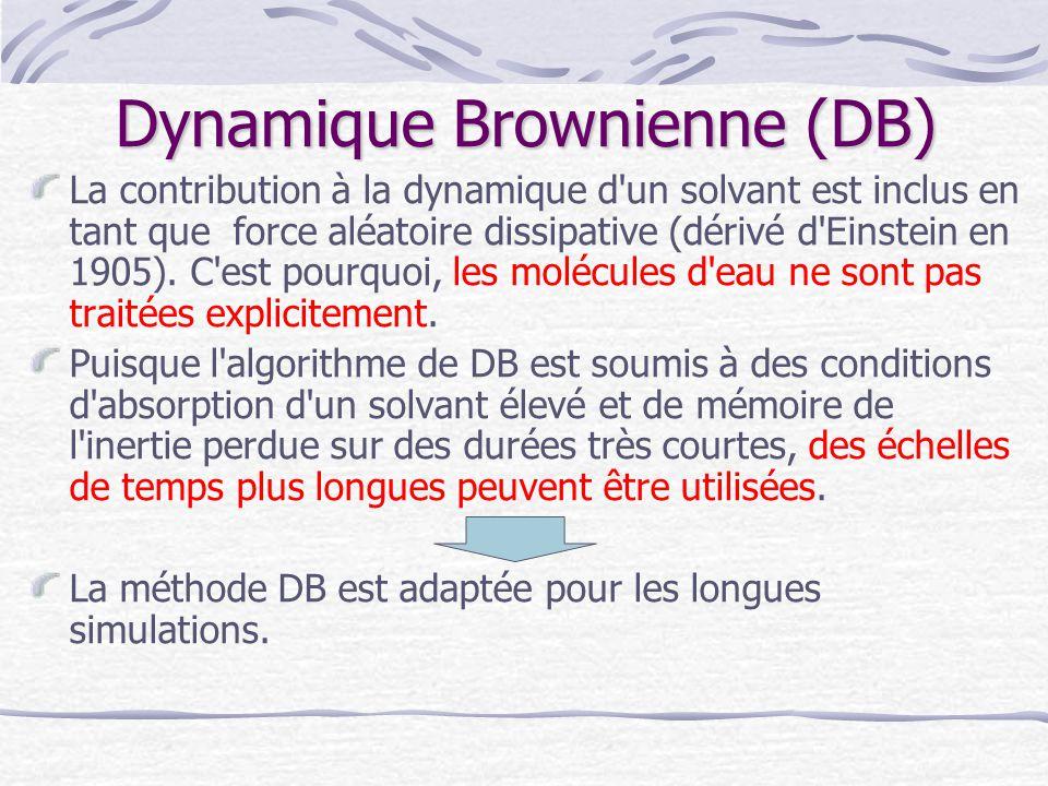 Dynamique Brownienne (DB) La contribution à la dynamique d'un solvant est inclus en tant que force aléatoire dissipative (dérivé d'Einstein en 1905).