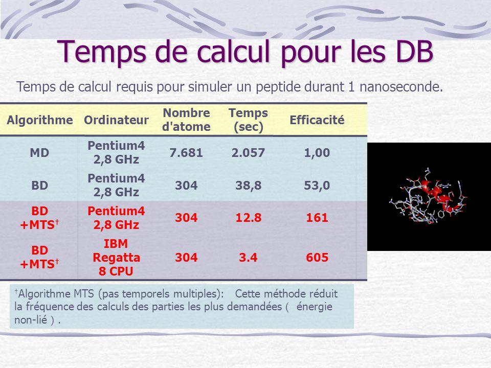Temps de calcul pour les DB 1,002.0577.681 Pentium4 2,8 GHz MD IBM Regatta 8 CPU Pentium4 2,8 GHz Ordinateur 6053.4304 BD +MTS † 304 Nombre d'atome 16