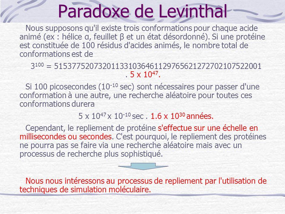 Paradoxe de Levinthal Nous supposons qu'il existe trois conformations pour chaque acide animé (ex : hélice α, feuillet β et un état désordonné). Si un
