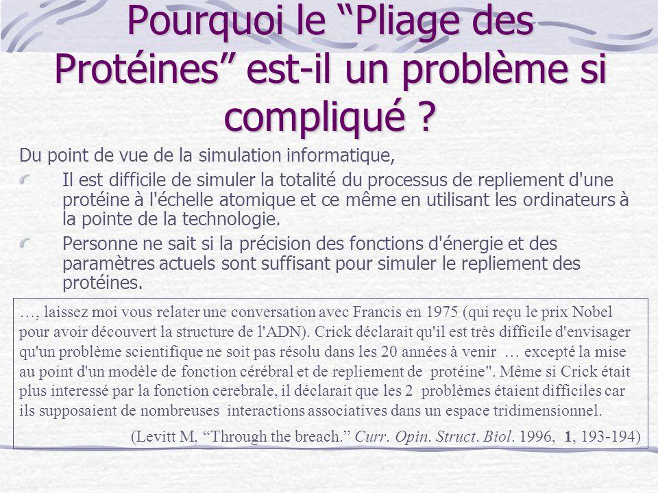"""Pourquoi le """"Pliage des Protéines"""" est-il un problème si compliqué ? Du point de vue de la simulation informatique, Il est difficile de simuler la tot"""