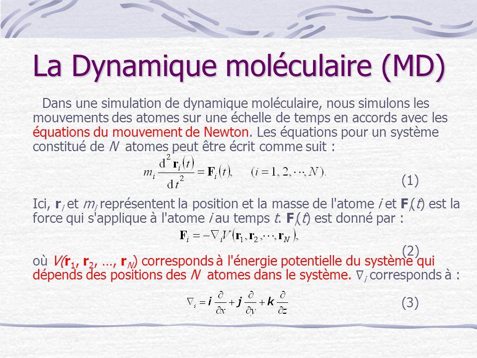 La Dynamique moléculaire (MD) Dans une simulation de dynamique moléculaire, nous simulons les mouvements des atomes sur une échelle de temps en accord