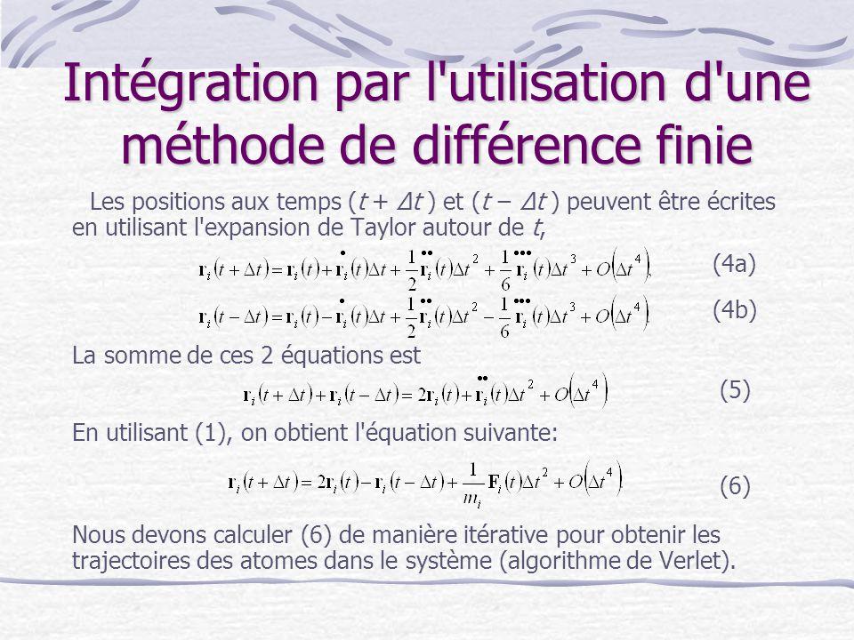 Intégration par l'utilisation d'une méthode de différence finie Les positions aux temps (t + Δt ) et (t − Δt ) peuvent être écrites en utilisant l'exp