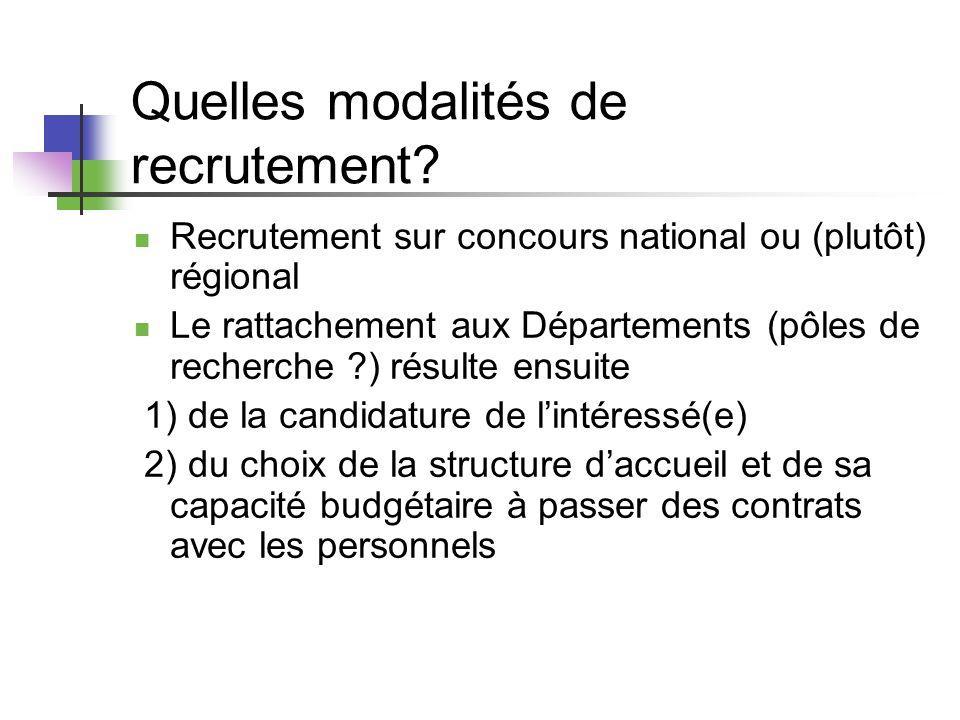 Quelles modalités de recrutement? Recrutement sur concours national ou (plutôt) régional Le rattachement aux Départements (pôles de recherche ?) résul