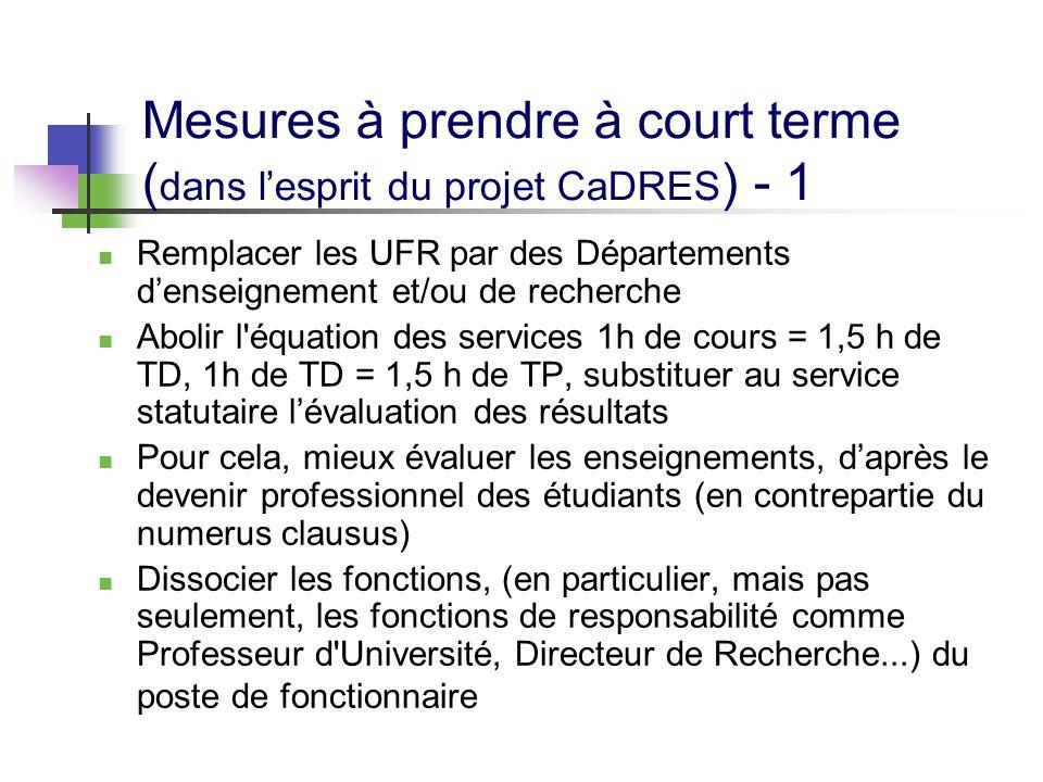 Mesures à prendre à court terme ( dans l'esprit du projet CaDRES ) - 1 Remplacer les UFR par des Départements d'enseignement et/ou de recherche Abolir
