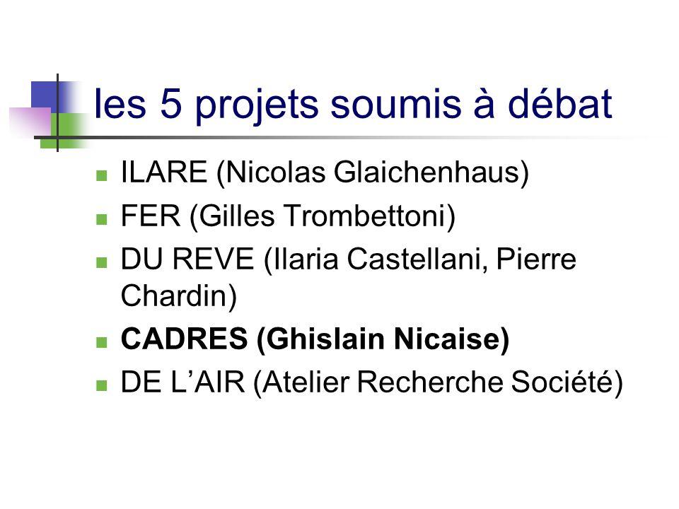 Ies 5 projets soumis à débat ILARE (Nicolas Glaichenhaus) FER (Gilles Trombettoni) DU REVE (Ilaria Castellani, Pierre Chardin) CADRES (Ghislain Nicais
