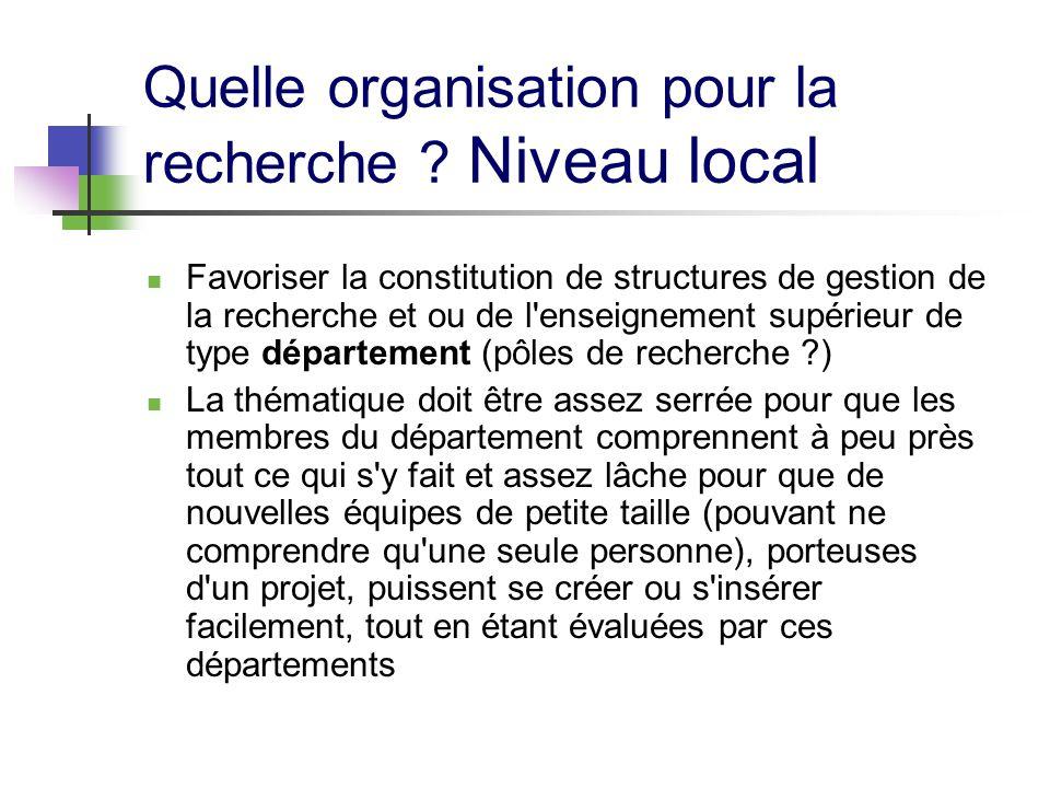 Quelle organisation pour la recherche ? Niveau local Favoriser la constitution de structures de gestion de la recherche et ou de l'enseignement supéri