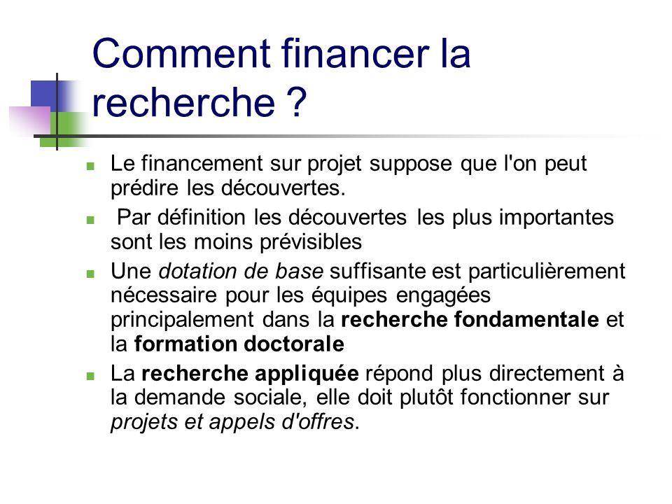 Comment financer la recherche ? Le financement sur projet suppose que l'on peut prédire les découvertes. Par définition les découvertes les plus impor