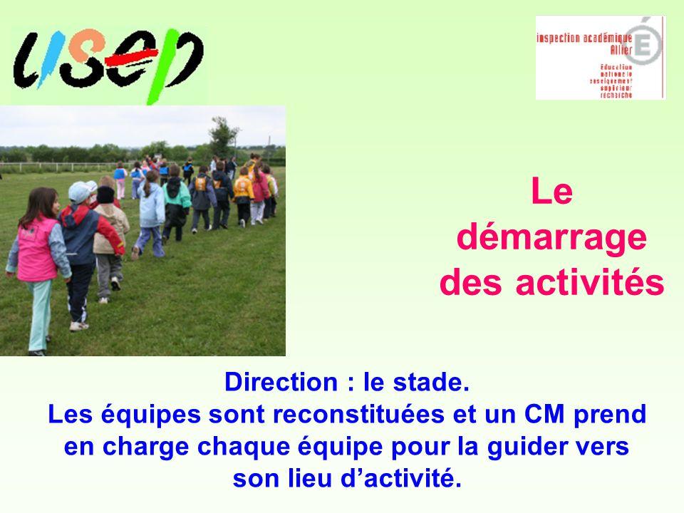 Le démarrage des activités Direction : le stade.