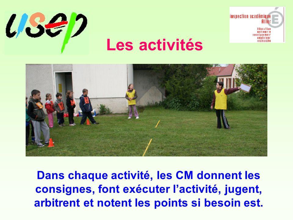 Les activités Dans chaque activité, les CM donnent les consignes, font exécuter l'activité, jugent, arbitrent et notent les points si besoin est.