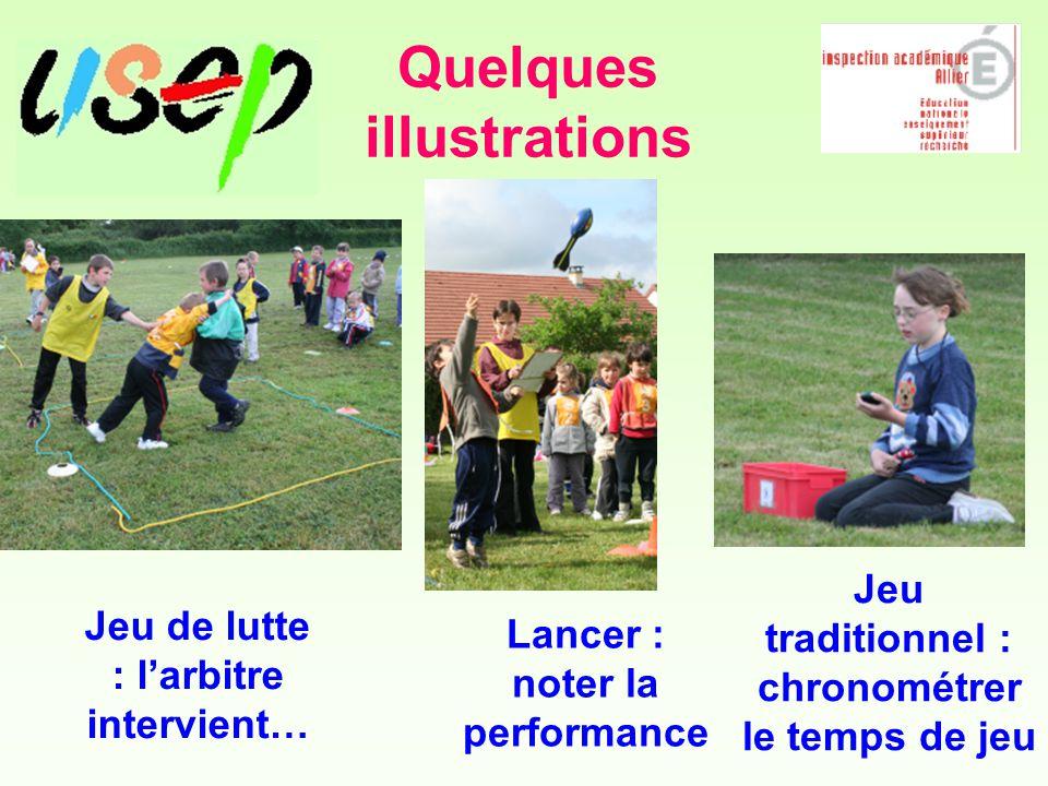 Quelques illustrations Jeu de lutte : l'arbitre intervient… Lancer : noter la performance Jeu traditionnel : chronométrer le temps de jeu