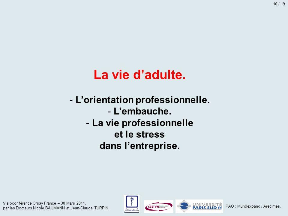 La vie d'adulte. - L'orientation professionnelle. - L'embauche. - La vie professionnelle et le stress dans l'entreprise. Visioconférence Orsay France
