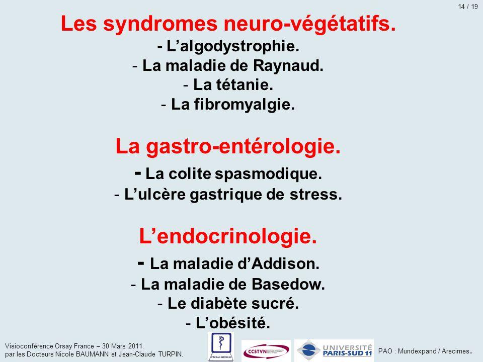 Les syndromes neuro-végétatifs. - L'algodystrophie. - La maladie de Raynaud. - La tétanie. - La fibromyalgie. La gastro-entérologie. - La colite spasm