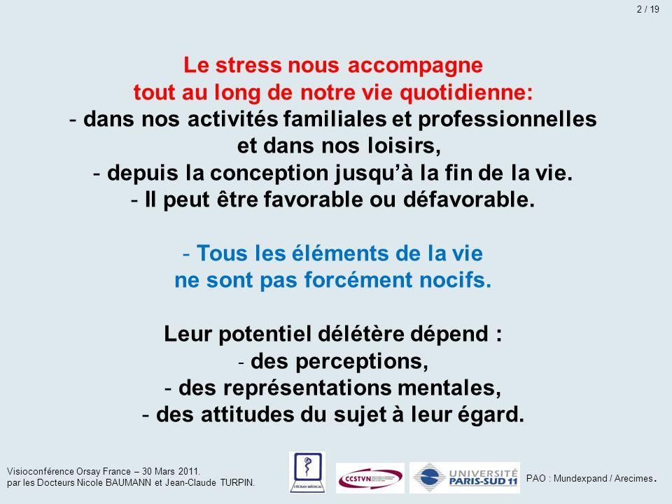 Le stress nous accompagne tout au long de notre vie quotidienne: - dans nos activités familiales et professionnelles et dans nos loisirs, - depuis la