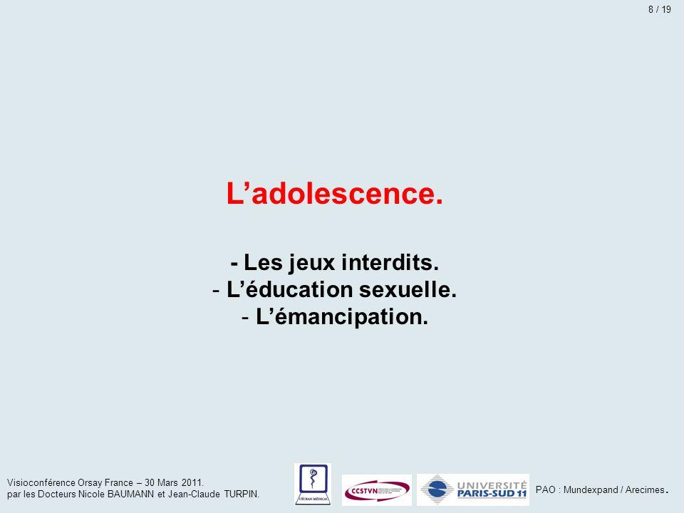 L'adolescence. - Les jeux interdits. - L'éducation sexuelle. - L'émancipation. Visioconférence Orsay France – 30 Mars 2011. par les Docteurs Nicole BA