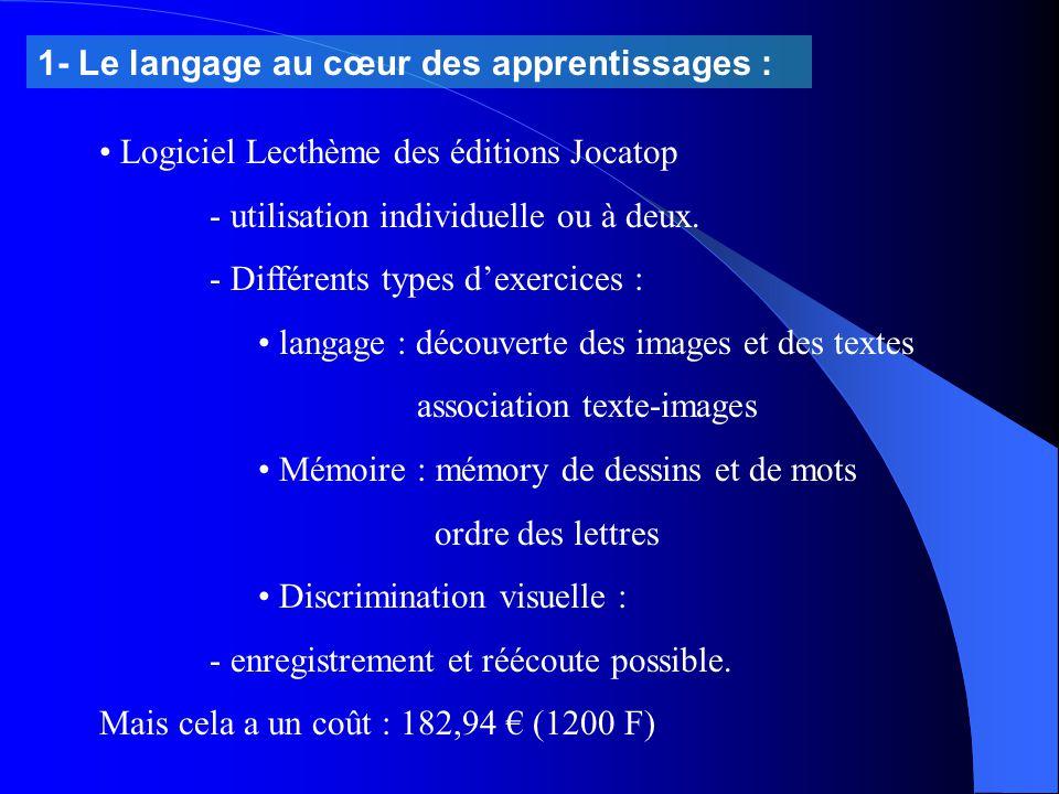 1- Le langage au cœur des apprentissages : Logiciel Lecthème des éditions Jocatop - utilisation individuelle ou à deux. - Différents types d'exercices