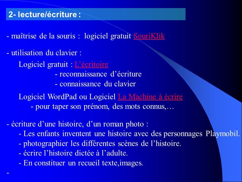 2- lecture/écriture : - maîtrise de la souris : logiciel gratuit SouriKlikSouriKlik - écriture d'une histoire, d'un roman photo : - Les enfants invent