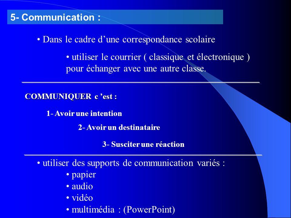 5- Communication : Dans le cadre d'une correspondance scolaire utiliser le courrier ( classique et électronique ) pour échanger avec une autre classe.