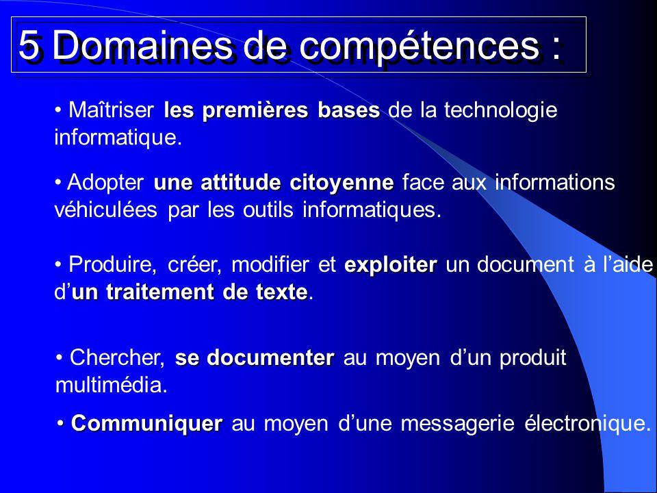 5 Domaines de compétences : les premières bases Maîtriser les premières bases de la technologie informatique. Communiquer Communiquer au moyen d'une m
