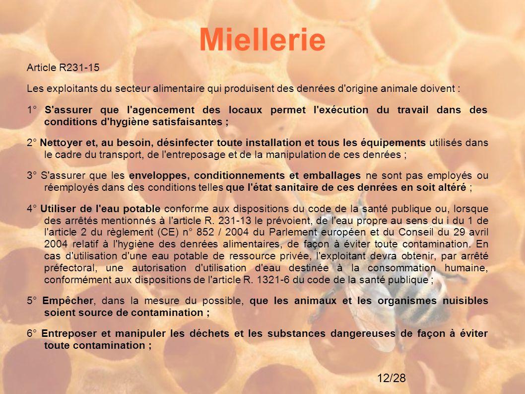 12/28 Miellerie Article R231-15 Les exploitants du secteur alimentaire qui produisent des denrées d'origine animale doivent : 1° S'assurer que l'agenc