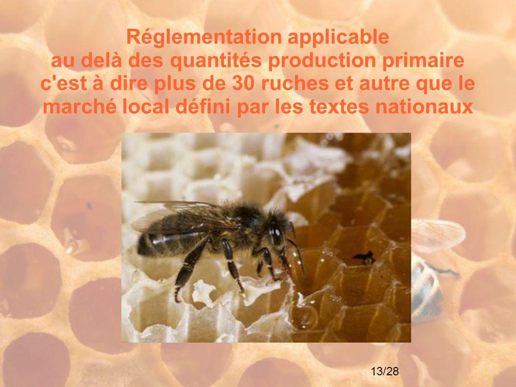 13/28 Réglementation applicable au delà des quantités production primaire c'est à dire plus de 30 ruches et autre que le marché local défini par les t