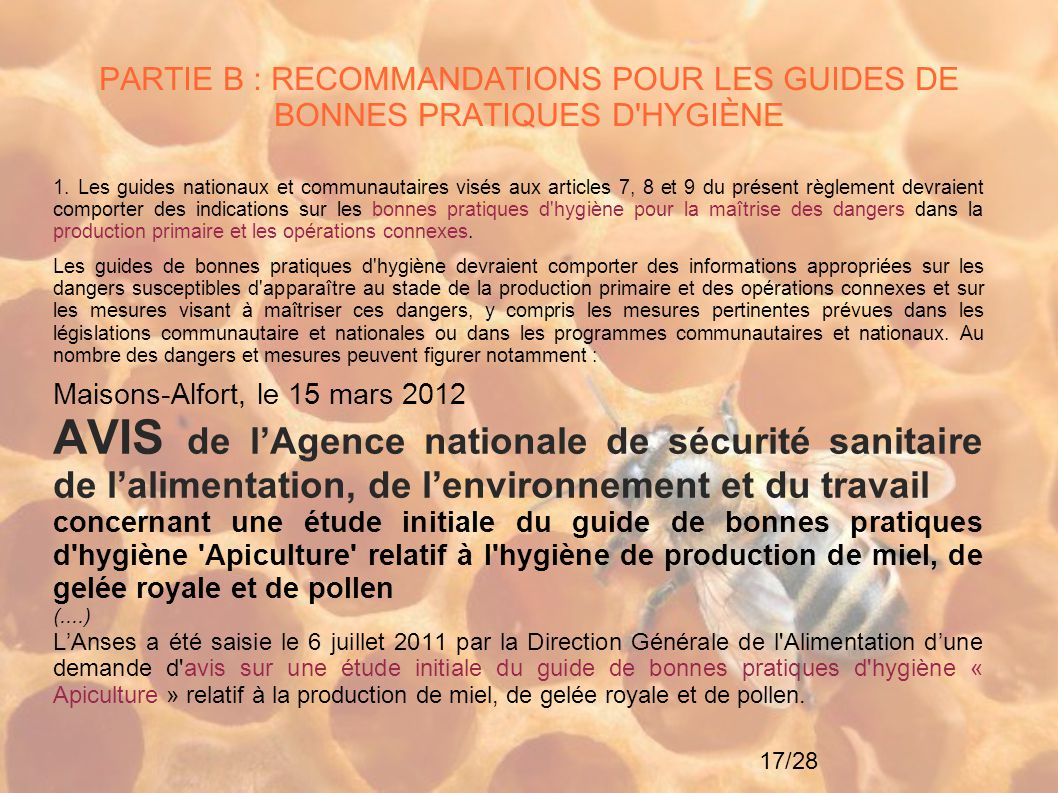 17/28 PARTIE B : RECOMMANDATIONS POUR LES GUIDES DE BONNES PRATIQUES D'HYGIÈNE 1. Les guides nationaux et communautaires visés aux articles 7, 8 et 9