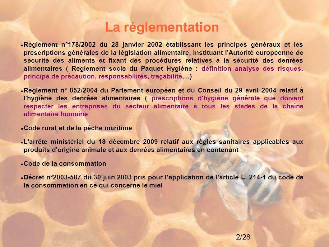 2/28 La réglementation Règlement n°178/2002 du 28 janvier 2002 établissant les principes généraux et les prescriptions générales de la législation ali