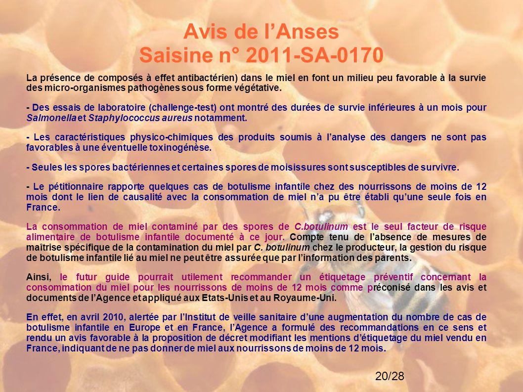 20/28 Avis de l'Anses Saisine n° 2011-SA-0170 La présence de composés à effet antibactérien) dans le miel en font un milieu peu favorable à la survie