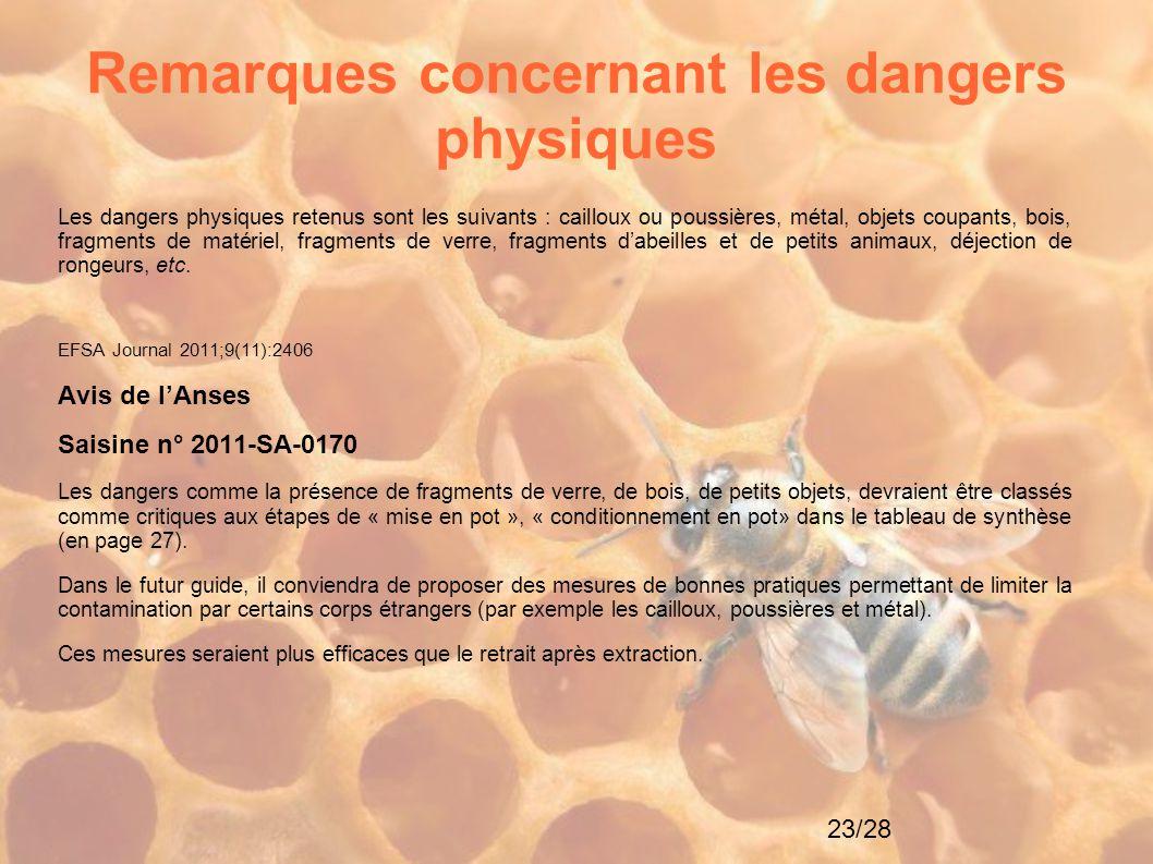 23/28 Remarques concernant les dangers physiques Les dangers physiques retenus sont les suivants : cailloux ou poussières, métal, objets coupants, boi