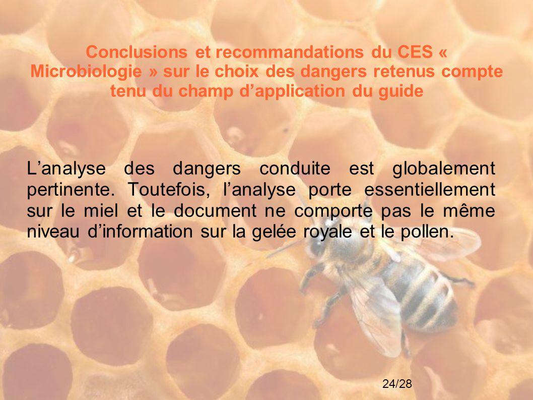 24/28 Conclusions et recommandations du CES « Microbiologie » sur le choix des dangers retenus compte tenu du champ d'application du guide L'analyse d